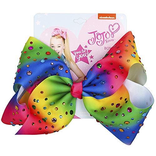 8-Zoll-JoJo Siwa Signature Collection Große Haarspangen mit Strass für Mädchen (Regenbogen)