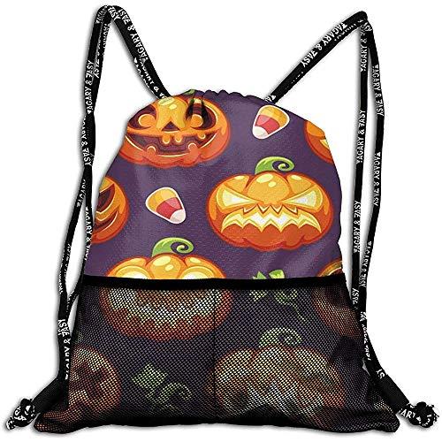 Not applicable Halloween mit Kürbissen auf dunkler personalisierter Drawstring-Rucksack-Maschen-Tasche Unisex für Reise-Eignung