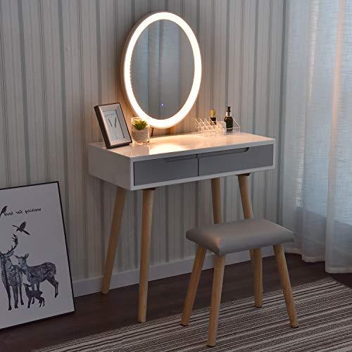 YU YUSING Coiffeuse LED Lumière Dimmable Table de Maquillage avec Miroir et Tabouret, Table de Maquillage avec 2 spacieux Tiroirs coulissants, Blanc,Ovale