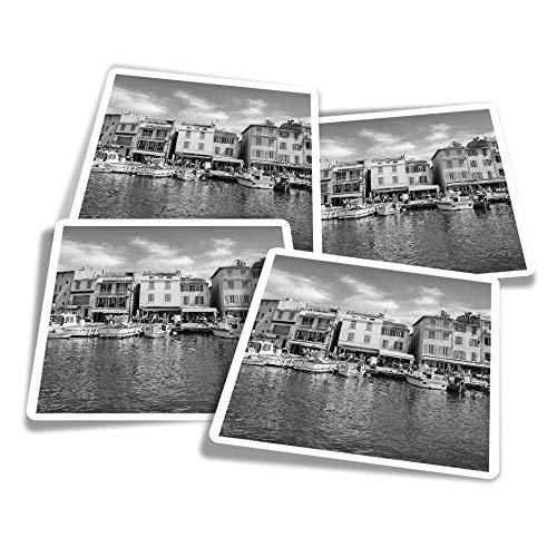 Pegatinas de vinilo (juego de 4) 10 cm – BW – French Port France Fun Calcomanías para portátiles, tabletas, equipaje, reserva de chatarra #39375