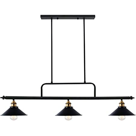 Unitary Brand Antique Black Metal and Glass Shades Dining Room Island Light Fixture with 3 E26 Bulb Sockets 120W Painted Finish