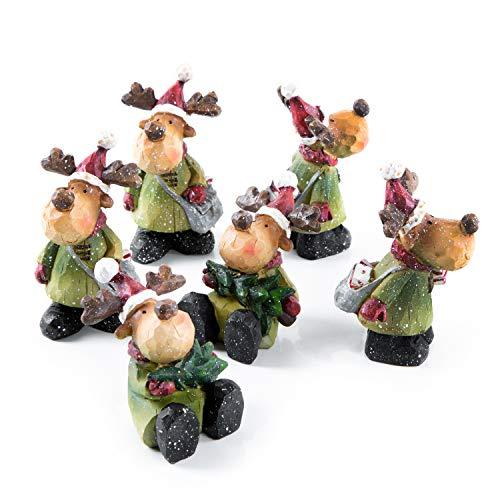 Logbuch-Verlag 6 figuras de reno para colocar de pie de 8 cm de piedra artificial – Figuras decorativas navideñas como regalo para clientes, Navidad