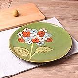 Soporte para cesta de frutas, Placa de cerámica Personalidad creativa Placa pintada a mano Placa de filete occidental Pasta plato plato auténtico vajilla patrón color 21.3x2.5cm , para decoración del