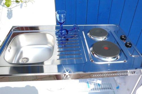 Singleküche Pantryküche 100 cm weiß Miniküche Büroküche Kochplatte Spüle Kühlschrank