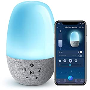 HeimVision N600S Baby Sound Machine WiFi, Smart Night Light for Kids Work with Alexa, 27 White Noise Soother Toddler Child Sleep Trainer Nightlight with Touch Control Color Change, APP & Voice Control