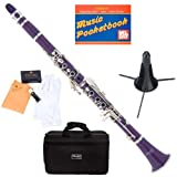 Mendini MCT-P+SD+PB Purple ABS B Flat Clarinet with Case, Stand, Pocketbook, Mouthpiece, 10 Reeds and More