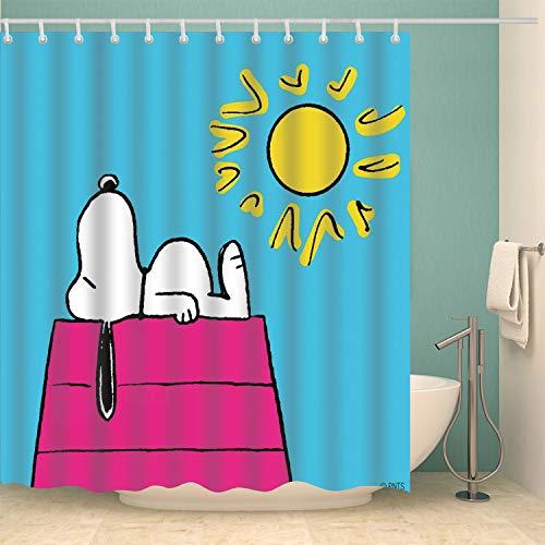 ViviJane Snoopy Sunbathes on The Beach Shower Curtain with Hooks Waterproof Fabric Machine Washable Polyester Cartoon Dog Bathroom Curtain Set Decor 72x72 Inch