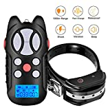 TZLong Dog Training Collar with Beep Vibra Remote Control Waterproof and Rechargeable Collar 1000m Distance (Black)