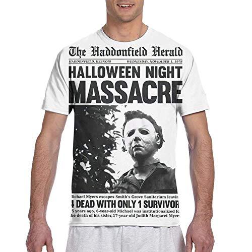 IUBBKI Camiseta básica de Manga Corta para Hombre Michael-Myers-Headline-Halloween-T-Shirt.Master优化 T-Shirt for Men
