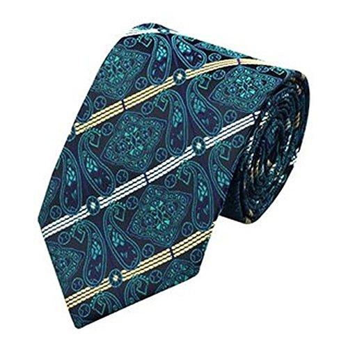 Jason & Vogue Designer Cravate en bleu argent rayures Paisley