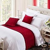 OSVINO Corredor de cama moderno de color sólido, chenilla suave, sin decoloración, ropa de cama con bufanda de protección para cama de 180 cm [240X50cm] [rojo]