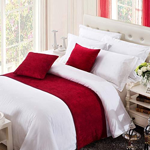 OSVINO Coureurs de Lit Décoratif Chemin de Lit Double Chenille Couleur Pure Simple, Rouge 180X50cm pour 120cm lit