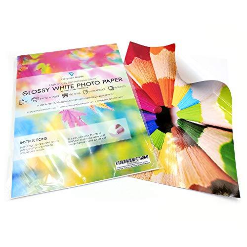 Evergreen Goods Fotopapier, blanko, A4, Weiß, glänzend, selbstklebend, wasserabweisend, 10 Blatt