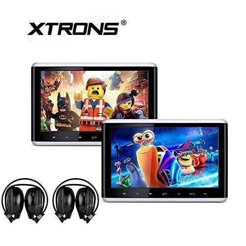 XTRONS Lot de 2 lecteurs DVD portables 10,2 pouces pour voiture avec écran tactile TFT numérique HD Écran tactile amovible avec port HDMI pour utilisation en voiture et à domicile 2 casques infrarouges inclus