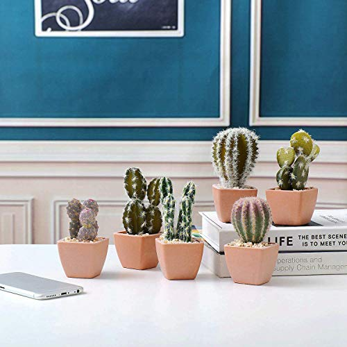 T4U人工観葉植物フェイクグリーン造花サボテン寄せ植えお世話のいらないインテリア飾りギフトプラスチック製6点セット