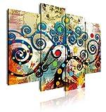 DekoArte 489 Cuadro moderno en lienzo, XXL Estilo Abstracto árbol de la Vida Gustav Klimt de Colores, multi rojos, 4 piezas (120x90x3cm), 5