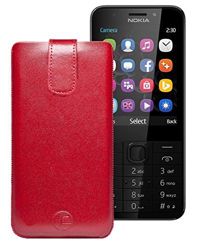 Favory Tasche Leder Etui / Nokia 230 - 230 Dual SIM / ECHT Ledertasche Hülle Schutzhülle (Lasche mit Rückzugfunktion) rot
