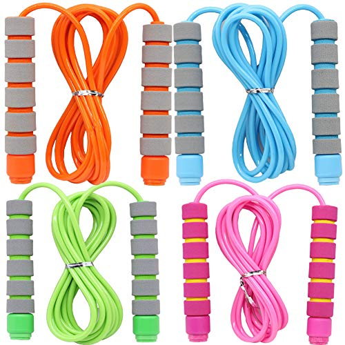 4 Pack Adjustable Soft Skipping Rope with Skin-Friendly Foam Handles for Kids, Children, Students and Adults, Fitness Jump Rope For Outdoor, Party Favor, Exercise Activity (pink+blue+green+orange)