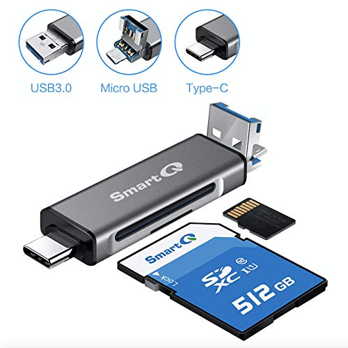 SmartQ C256 Type-C and Type A USB Memory Card Reader with USB 2.0 Super Speed for MicroSDXC, MicroSDHC, SD, SDXC, SDHC, SD Cards, Works for Windows, Mac OS X, Android Devices (Grey Trio 2.0)