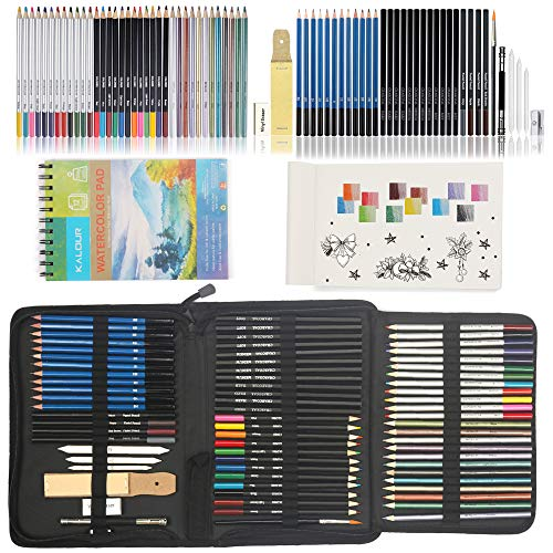 Kalour Drawing Kit(74 pieces)-including Six kinds of Art Pencils:Sketch,Colored,Metallic Color,Watercolor,Pastel,Charcoal Pencil.for Sketching,Coloring,Drawing.Perfect Art Set for Artists,Beginners