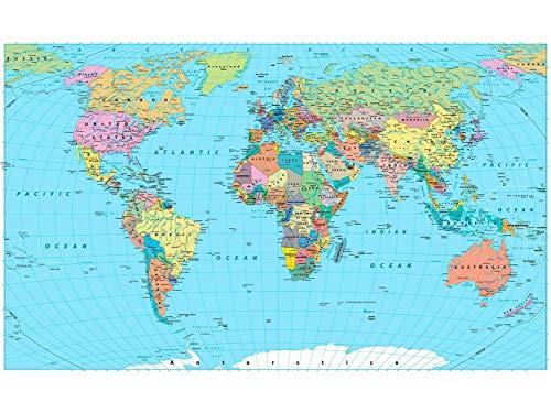 Oedim Papier Peint Auto-Adhésif | Mapamundi Carte du Monde Politique | 500 x 300 cm | Décoration muraux de Chambre