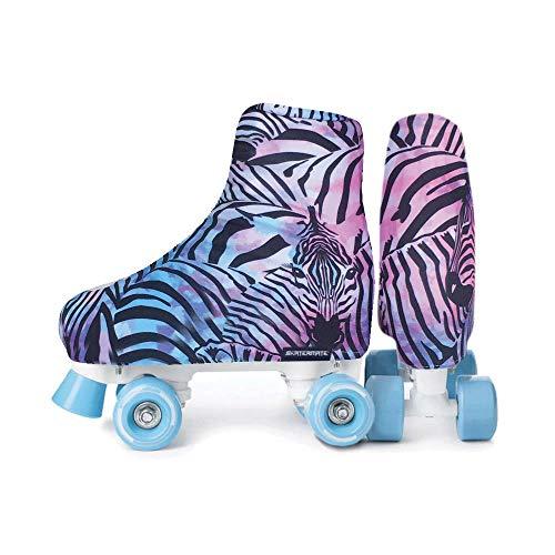 Skatermate   Skateschuh-Überzüge – Rollschuhe, Schlittschuhe, Inlineskates, Zubehör, 1 Paar, Universalgröße (Tuti Fruity Zebra)