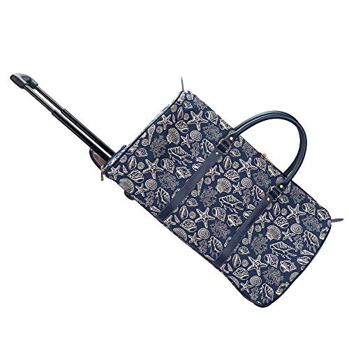 Signare Tapestry Travel Bag Overnight Bags Weekend Bag with Wheel for Women with Pattern Design (Sea Shell, Pull-Shell)