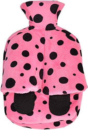 Vagabond Cuddlesoft Hot Water Bottle Footwarmer, Pink Black 2 Litre