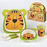 Certified International Tiger 5-piece Eco Friendly Bamboo Fiber Children's -Dinnerware -Set, Multicolored