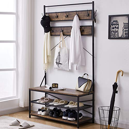 3-in-1 Entryway Coat Rack,Vintage Industrial Hall Tree 72 Inch with Storage Bench and Coat Racks Entryway Storage Shelf Organizer with 9 Hooks, Large Size, Wood Look Accent Furniture with Metal Frame