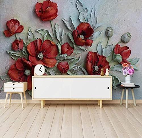 Papel Pintado Pared Dormitorio Flor De Amapola Roja 3D Fotomurales Tejido No Tejido Murales Moderna Diseño Póster Salón...