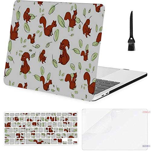 MacBook Pro Case Squirrels Leaves On White Background Seamless MacBook Air 11' /A1370/A1465 Plastic Case Keyboard Cover & Screen Protector & Keyboard