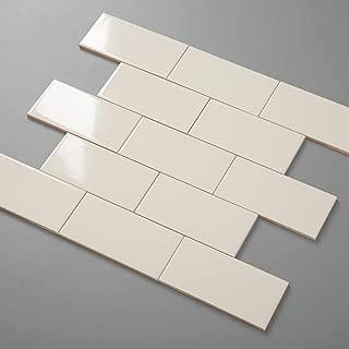 Diflart Beige Ceramic Subway Tile 3x6 Inch Smooth Glazed Finish Backsplash Tiles for Kitchen Shower Bathroom Box of 7 Sqft
