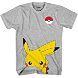 Image of Pokemon Pokémon Boy's Cute Pikachu T-Shirt, Heather Grey, SM