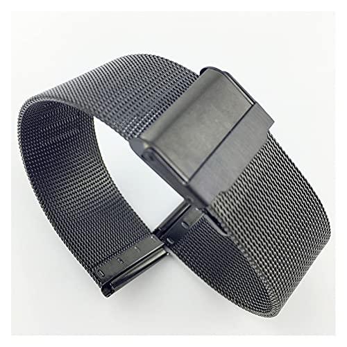 RHBLHQ Reloj de Acero Inoxidable Cinturón de Malla Fino Macho 0,4 Línea Reloj de Reloj de Reloj Ultrafino Hebilla de Seguridad Negro 14 16 18 20 mm (Color : Negro, Size : 16 mm)