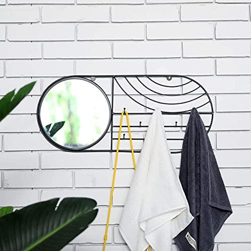 JHY DESIGN Wandspiegel mit 8 Haken 60cm L Wandspiegel Innen Zubehör für Handtuchhalskette Armband Schlüsselmaske Hut Taschen| Eingangstür Badezimmer Wohnzimmer Schlafzimmer Weg(Schwarz)