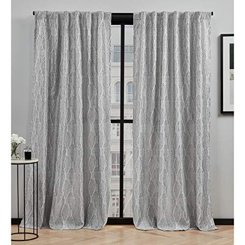 Elle Decor Peconic Light Filtering Back Tab Rod Pocket Curtain Panel Pair, 54x84, Grey
