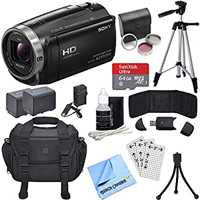 Sony HDR-CX675/B Full HD Handycam Camcorder Bundle with 64GB Memory Card, Camera Bag, 2540 mAh Battery, Battery Charger, Table-top Tripod, 60 Inch Tripod, 46mm Filter Kit by Sony