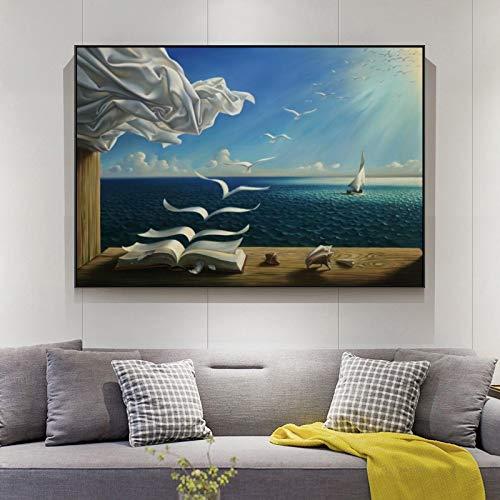 Arte de pared Sea Waves Libro Paisaje Pinturas en lienzo de Salvador Dali Carteles de...