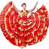 ZYLL Vestido Flamenco Mujer Falda de Gasa de la Danza de Vientre Disfraces corales Grandes de Danza Moderna,540°,XXL