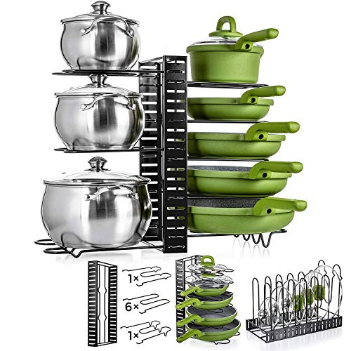 UPGRADED Adjustable Pot Organizer - Frying Pan Organizer - Pot Rack Organizer Adjustable - Pot Organizer For Cabinet - Kitchen Pot Organizer and Storage - Pots and Pan Storage Rack Organizer