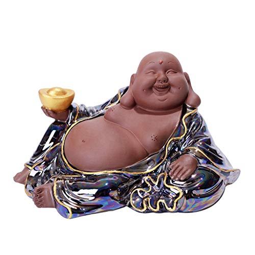 xiaoli Buddha Statue Lila Sand Lachen Buddha Statue Gold Ingot Buddha Skulptur Figuren Hauptdekoration Statuen Glück Geld-Geschenk Buddha-Figur Dekoration (Größe : 13 * 7 * 7cm)