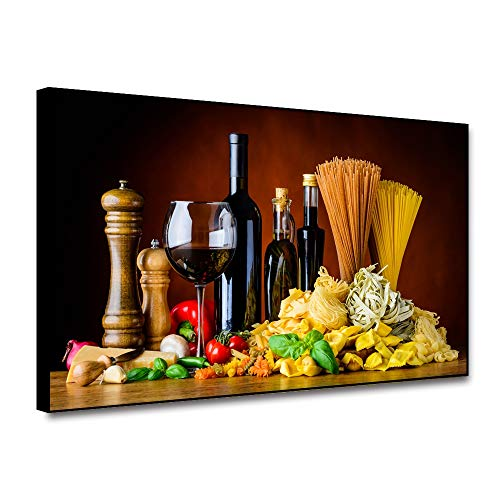 Renaiss 20x16 Inches Kitchen Wall Decor Framed Wine Gourmet Decor Canvas Wall Art Italian Food Cuisine Wine Pasta and Cooking Ingredients Picture Poster for Kitchen Restaurant Office Wall Decor