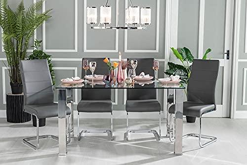 Urban Deco Sophia - Mesa de comedor (cristal, 180 cm), color cromado