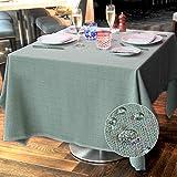 Balcony&Falcon Tischdecke Leinenoptik Tischtuch Leinen Tischdecke Pflegeleicht Farbe und Große Wählbar Eckig Wasserdicht Tischdecke Hellgrün, 120 x 120 cm