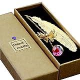 Toirxarn Segnalibro in piuma di metallo, con farfalla 3D e perle di vetro Ciondolo eterno ...