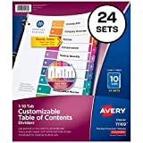 Avery 10-Tab Dividers for 3 Ring Binders, Customizable Table of Contents, Multicolor Tabs, 24 Sets (11169)
