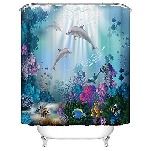 Wasserdichter Polyester-Duschvorhang, schimmelresistent, antibakteriell, Duschvorhänge für Badezimmer mit 12 Haken, 180 x 180 cm (Multi 17)