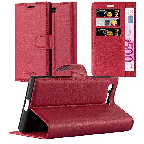 Cadorabo Hülle für Sony Xperia X Compact in Karmin ROT - Handyhülle mit Magnetverschluss, Standfunktion & Kartenfach - Hülle Cover Schutzhülle Etui Tasche Book Klapp Style