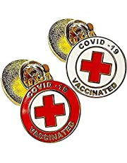 Spille Vaccinate Covid-19, Spille con Spille Vaccinate Covid-19, Spilla Vaccinata Covid 19, Spilla Placcata in Oro Con Badge Covid 19, Spilla con Spilla Smaltata (6Pz)